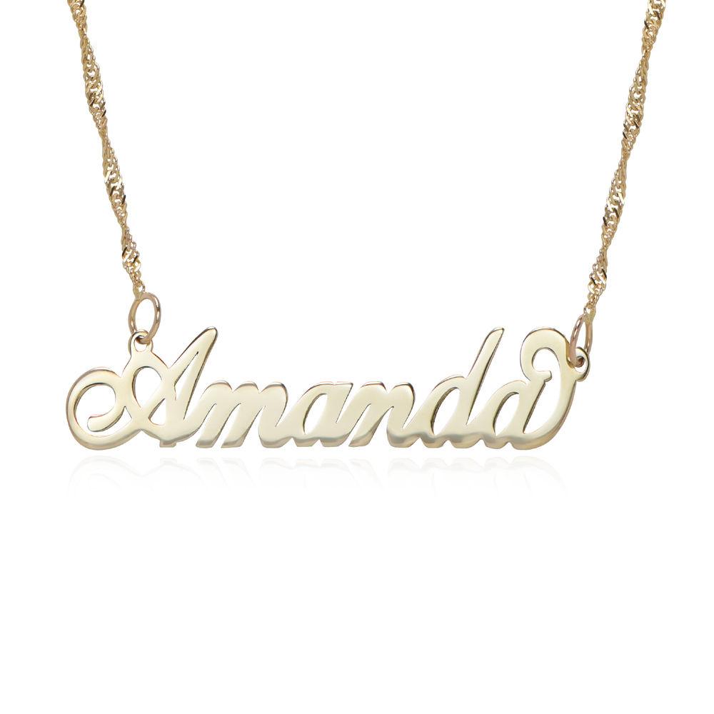 """Collar pequeño con nombre estilo """"Carrie"""" de oro 14k - 1"""