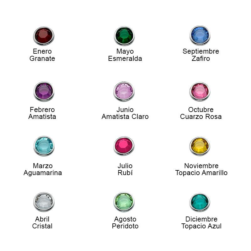 Collar Vertical Infinito con Nombres y Piedras de Nacimiento en Chapa de Oro Rosa - 1