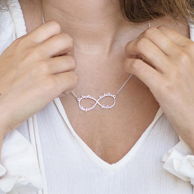 Collar Infinito de 4 Nombres en Plata - 2