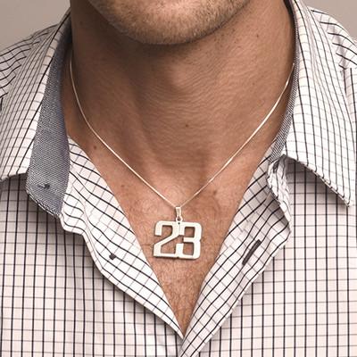 Collar Número para Hombre en plata de ley - 1