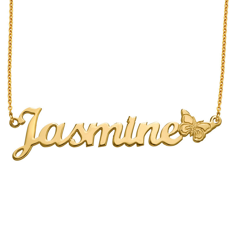 Collar con Nombre de Mariposa en Chapa de Oro