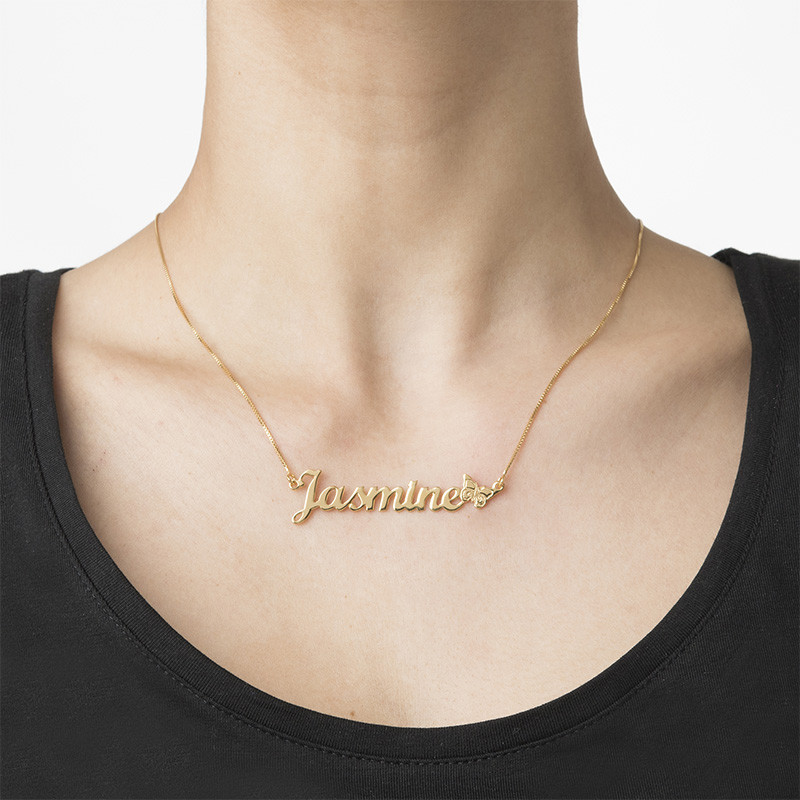 Collar con Nombre de Mariposa en Chapa de Oro - 1