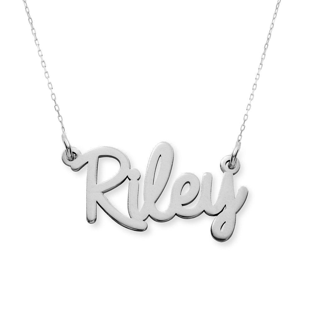 Collar con Nombre Personalizado en Cursiva en Oro Blanco 10K