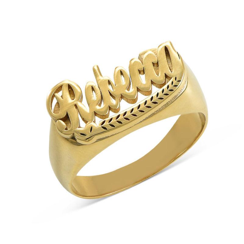 Anillo con Nombre en plata de ley chapado en oro