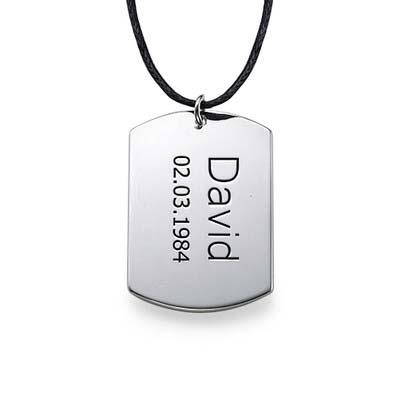Collar con Placa de Identidad en Plata