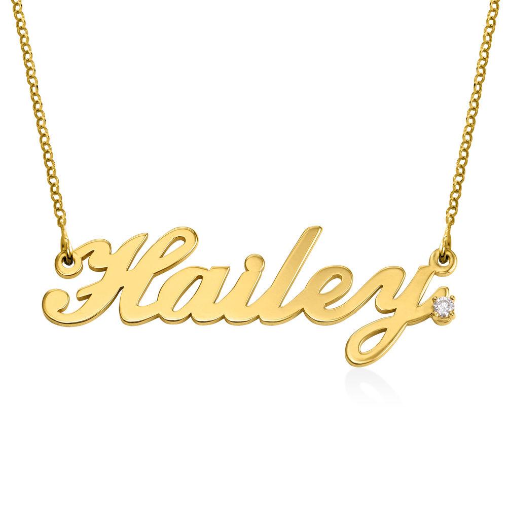 Collar con nombre clásico en chapa de oro con Diamante