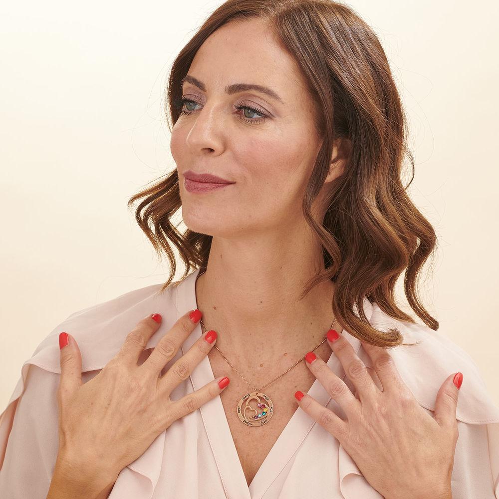 Collar Corazón en Corazón con Piedras de Nacimiento para Mamá - Chapado en Oro Rosa - 3