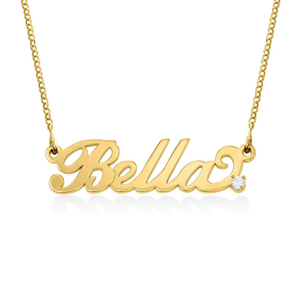 Pequeño Collar con Nombre en plata chapada en oro de 18k con diamantes