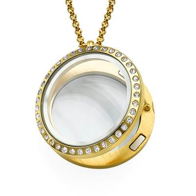Medallón Redondo Chapado en Oro con Cristales - 1