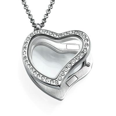 Medallón Corazón Plateado con Cristales - 1