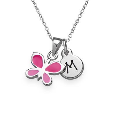 Collar Infantil con Mariposa Rosa e Inicial