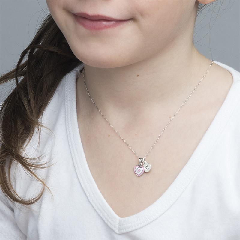 Collar Corazón Rosa Infantil con Inicial - 2