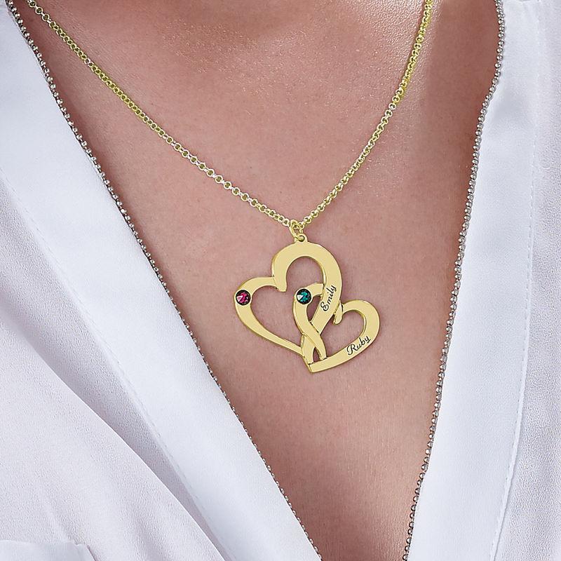 Collar de Dos Corazones Grabados con Chapa de Oro - 3