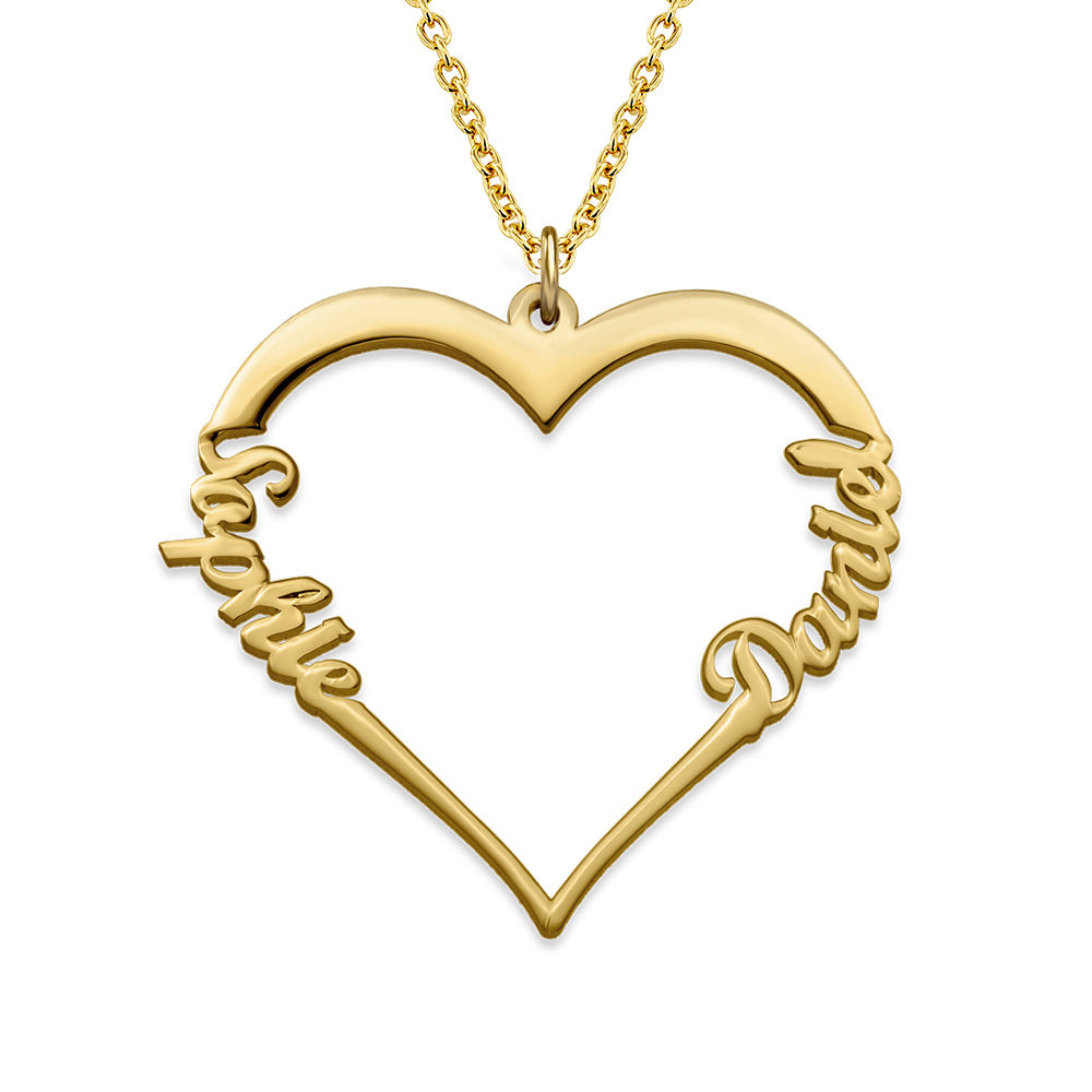 Collar de Corazón con Inscripción Personalizada Chapado en Oro de 18k