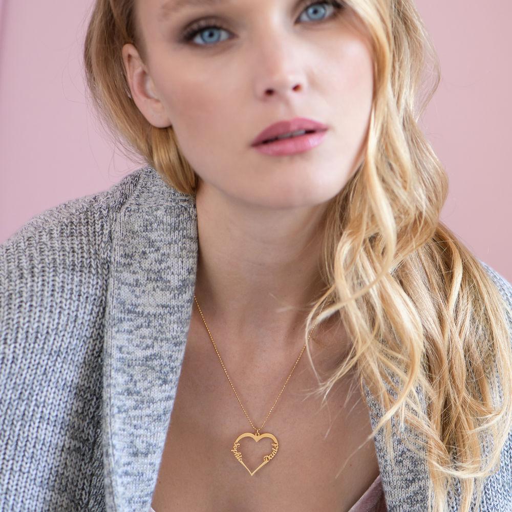 Collar de Corazón con Inscripción Personalizada Chapado en Oro de 18k - 2