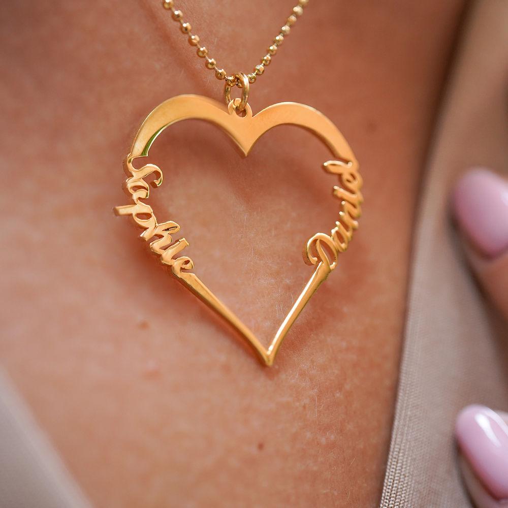 Collar de Corazón con Inscripción Personalizada Chapado en Oro de 18k - 3