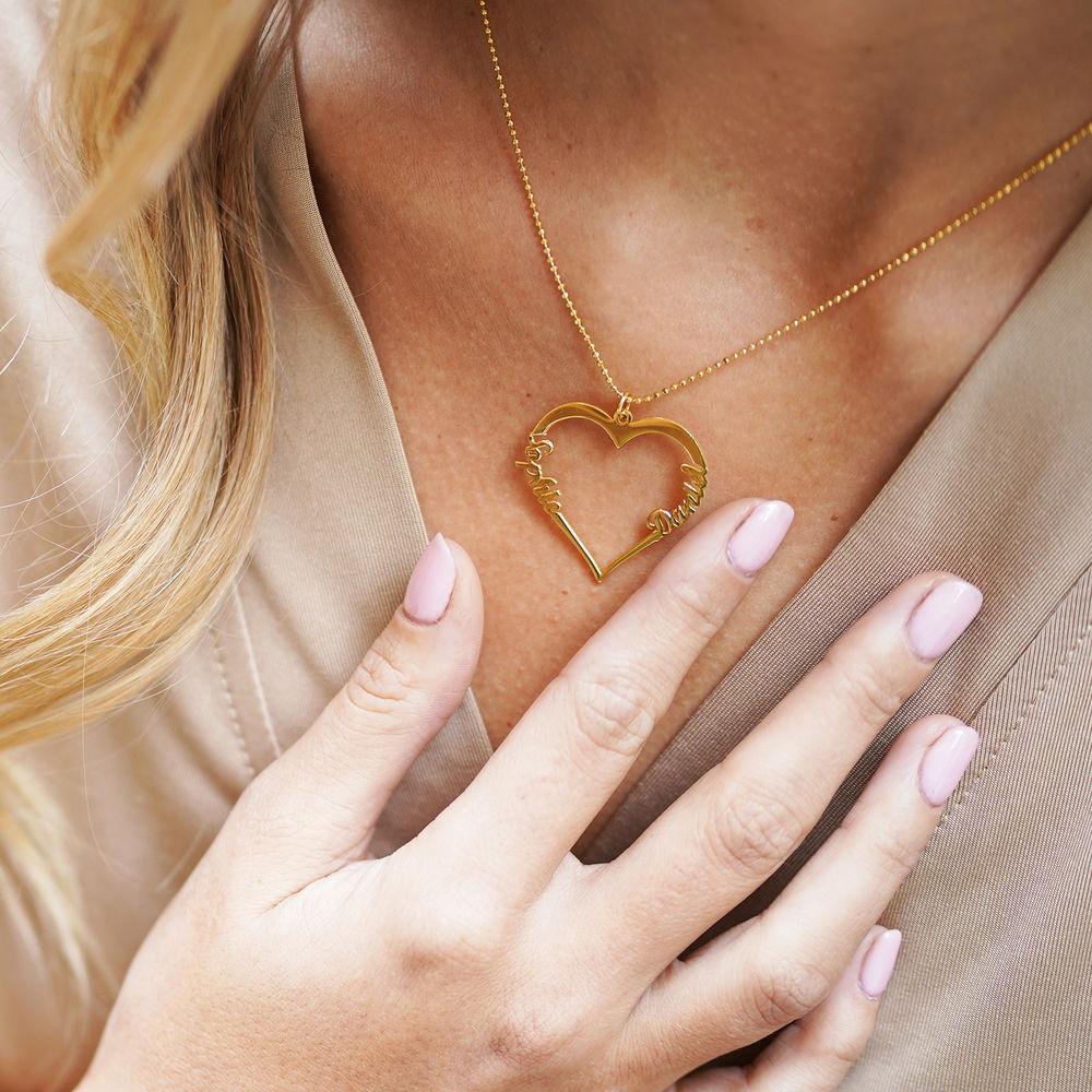 Collar de Corazón con Inscripción Personalizada Chapado en Oro de 18k - 5