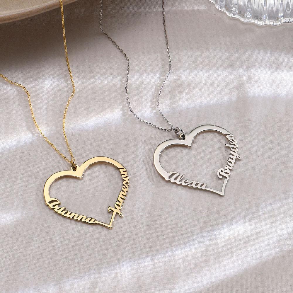Collar corazón con de escritura personalizada en oro 10k - 1