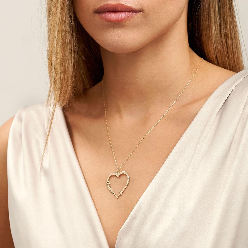 Collar corazón con de escritura personalizada en oro 10k - 3