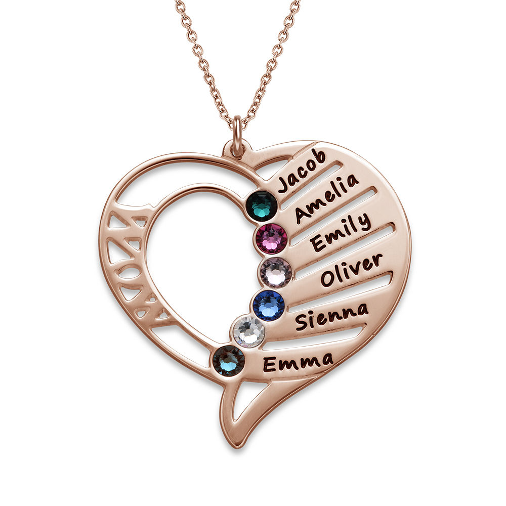 Collar Grabado con Piedras de Nacimiento para Mamá - Chapa de Oro Rosa