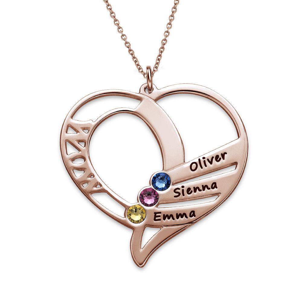 Collar Grabado con Piedras de Nacimiento para Mamá - Chapa de Oro Rosa - 1