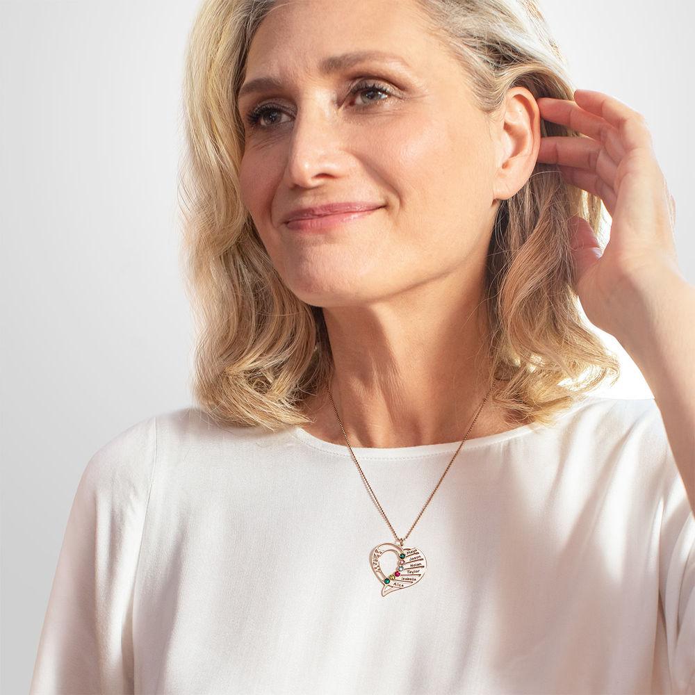 Collar Grabado con Piedras de Nacimiento para Mamá - Chapa de Oro Rosa - 4