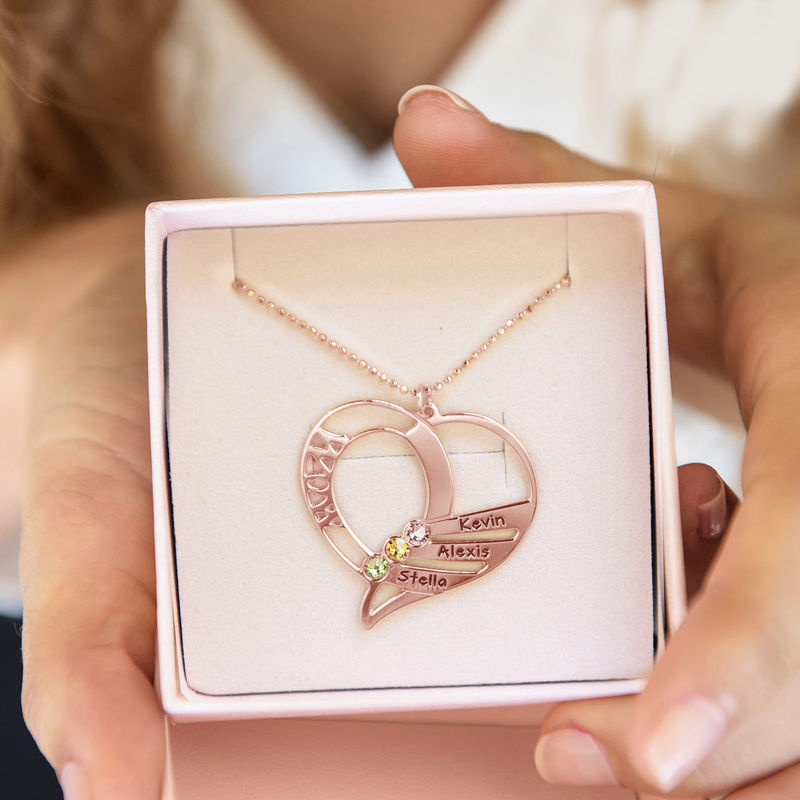 Collar Grabado con Piedras de Nacimiento para Mamá - Chapa de Oro Rosa - 7