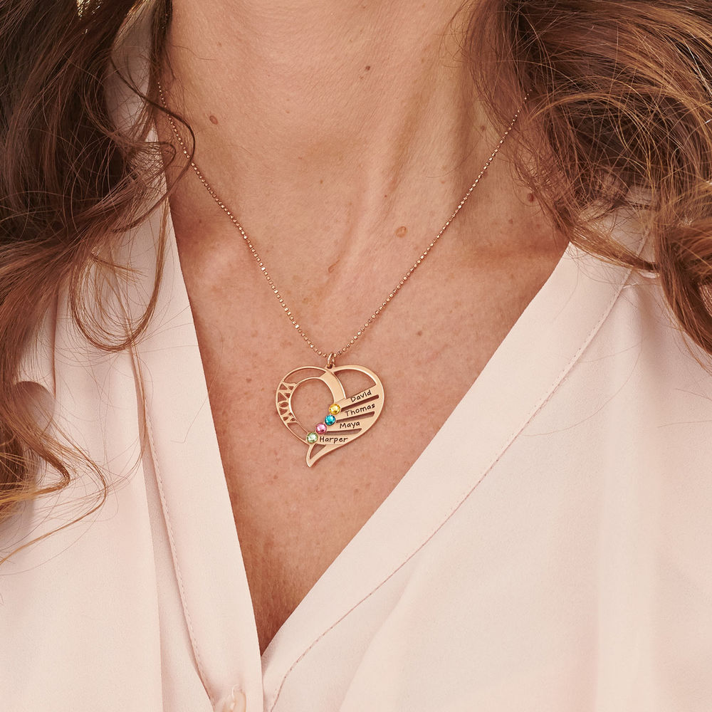 Collar para mamá grabado con piedras de nacimiento en oro Vermeil - 5