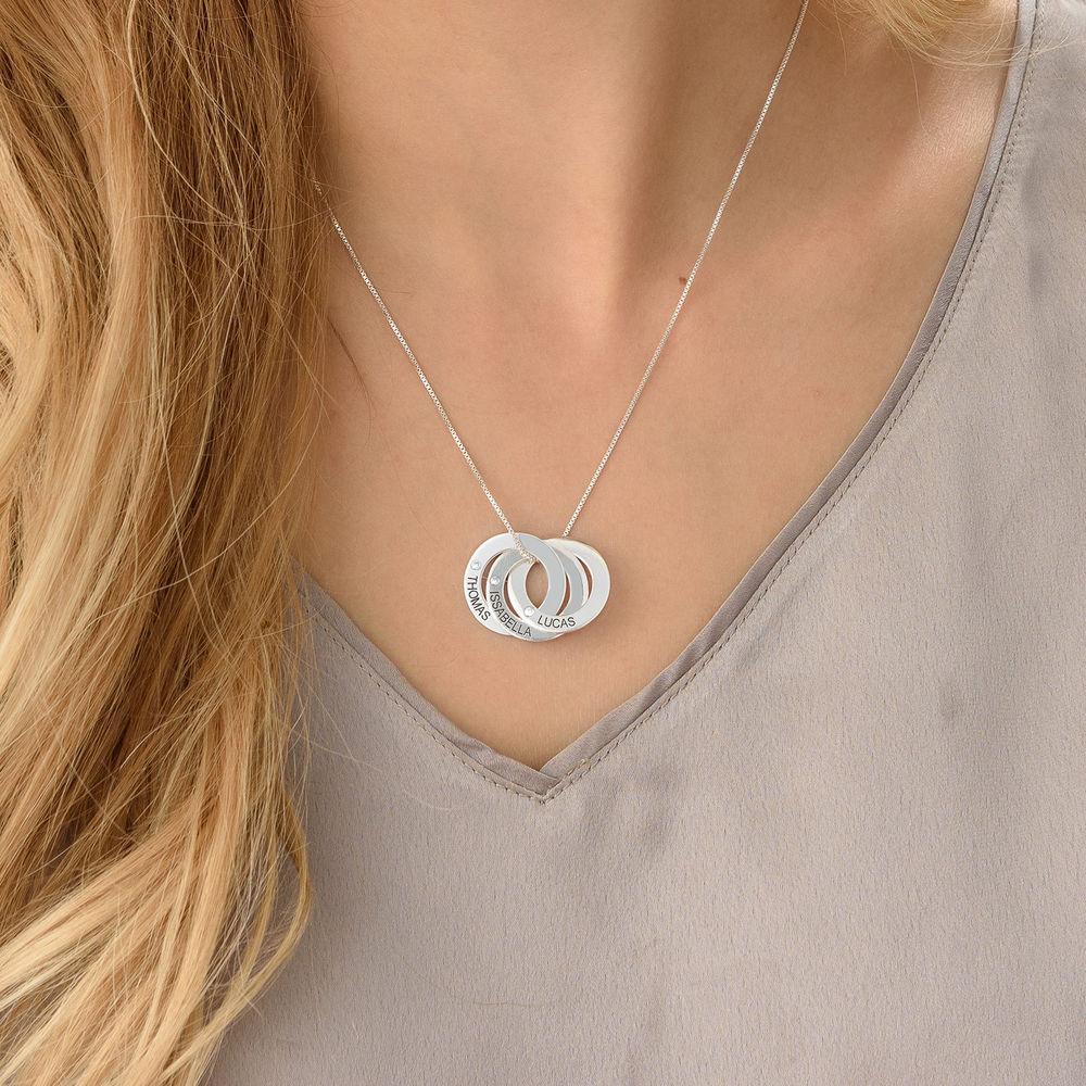 Collar de anillo ruso y diamantes en plata de ley - 2
