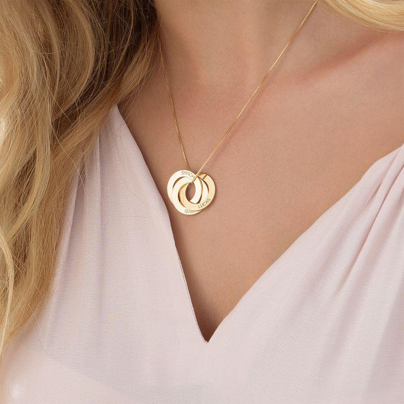 Collar de anillo ruso grabado en oro Vermeil - 4