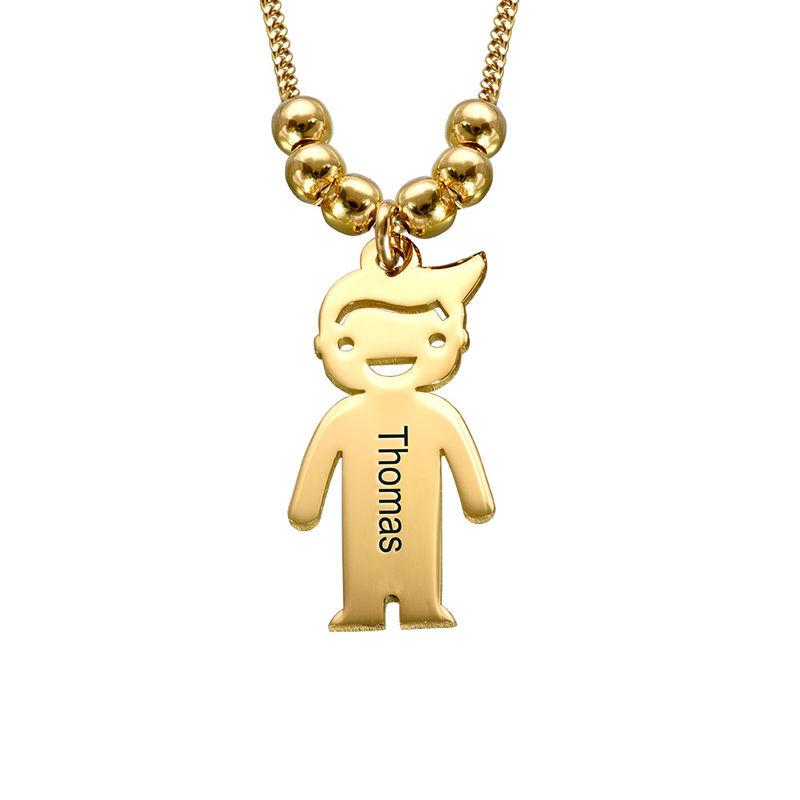 Colgante de niño y niña personalizado en oro Vermeil - 2