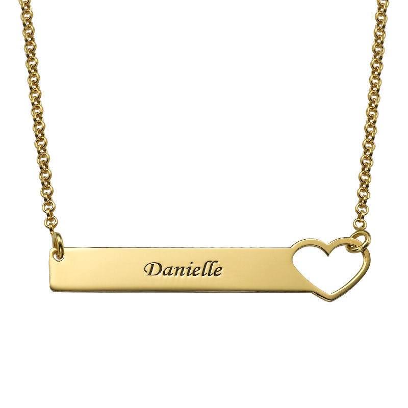 Collar de barra con corazón grabado – chapa de oro de 18K