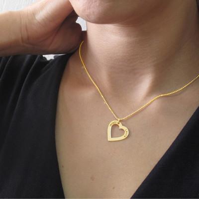 Collar con Corazon chapado en Oro 18k con Nombre y Fecha - 2
