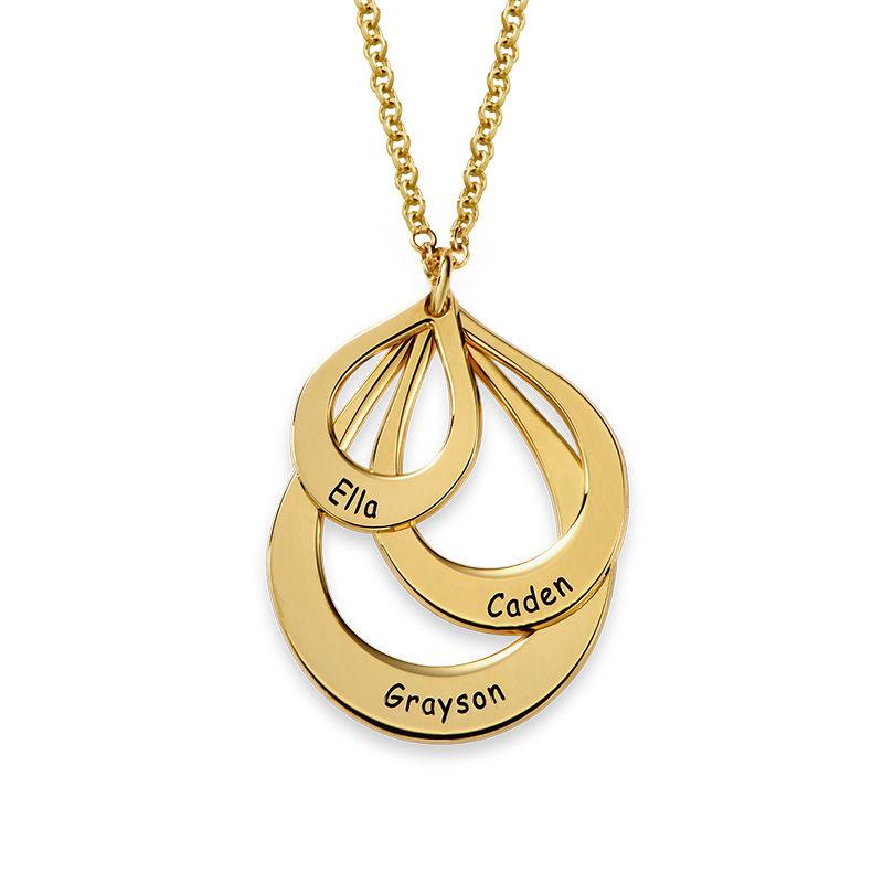 Collar de Gota de la Familia Grabada en Chapa de Oro - 1