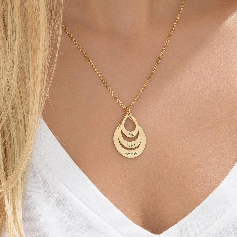 Collar de Gota de la Familia Grabada en Chapa de Oro - 5