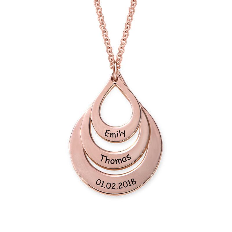 Collar de Gota de la Familia Grabada en Chapa de Oro Rosa - 2