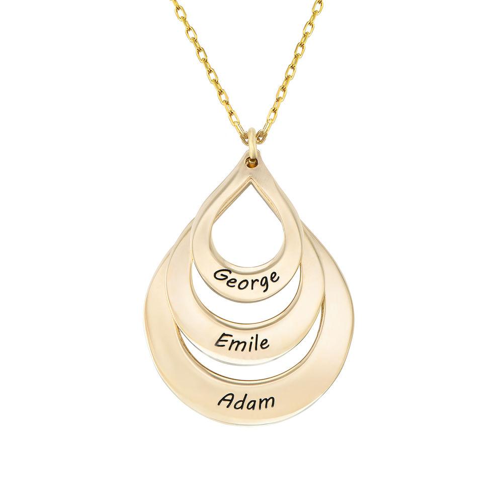 Collar de Gota de la Familia Grabada en oro 10k