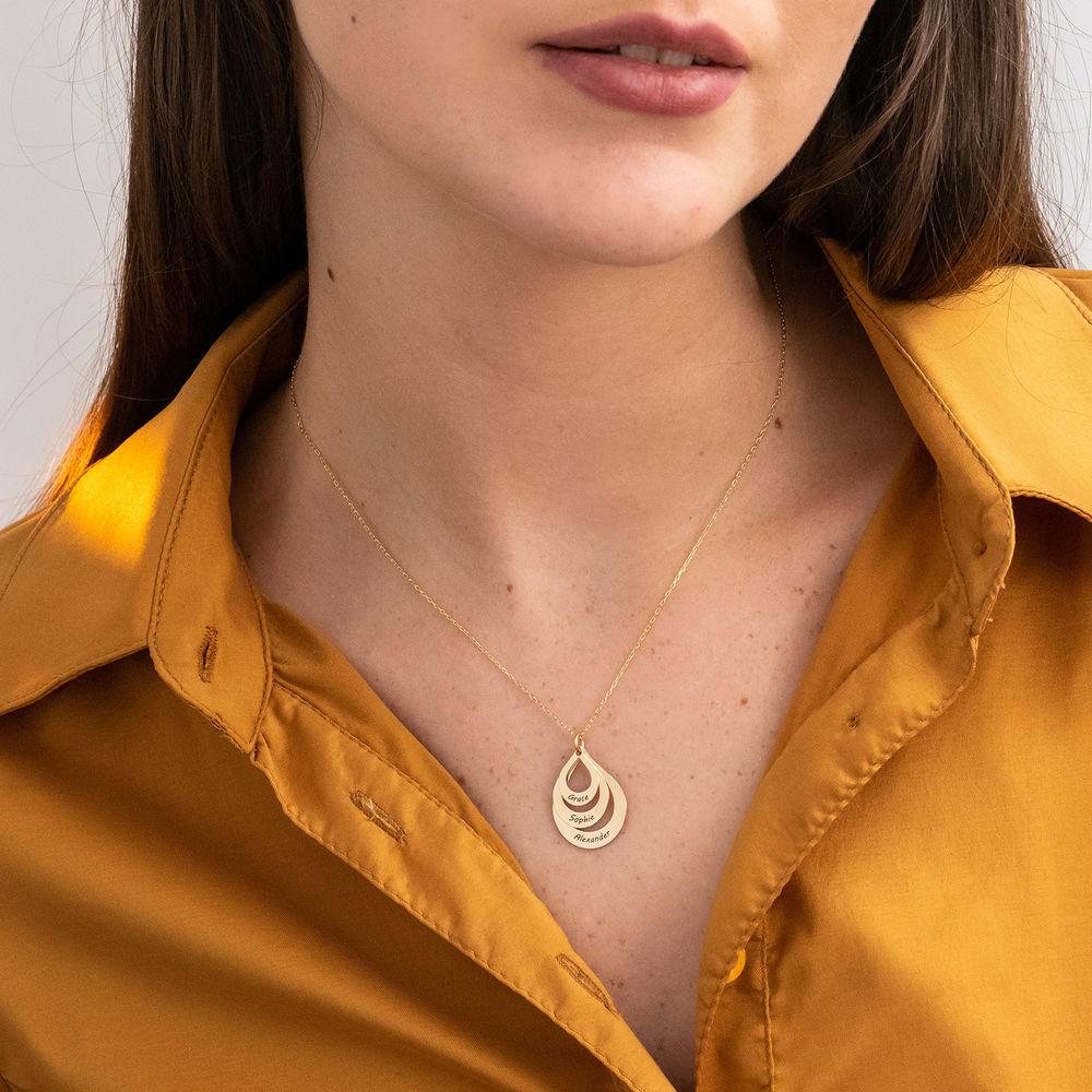 Collar de Gota de la Familia Grabada en oro 10k - 3