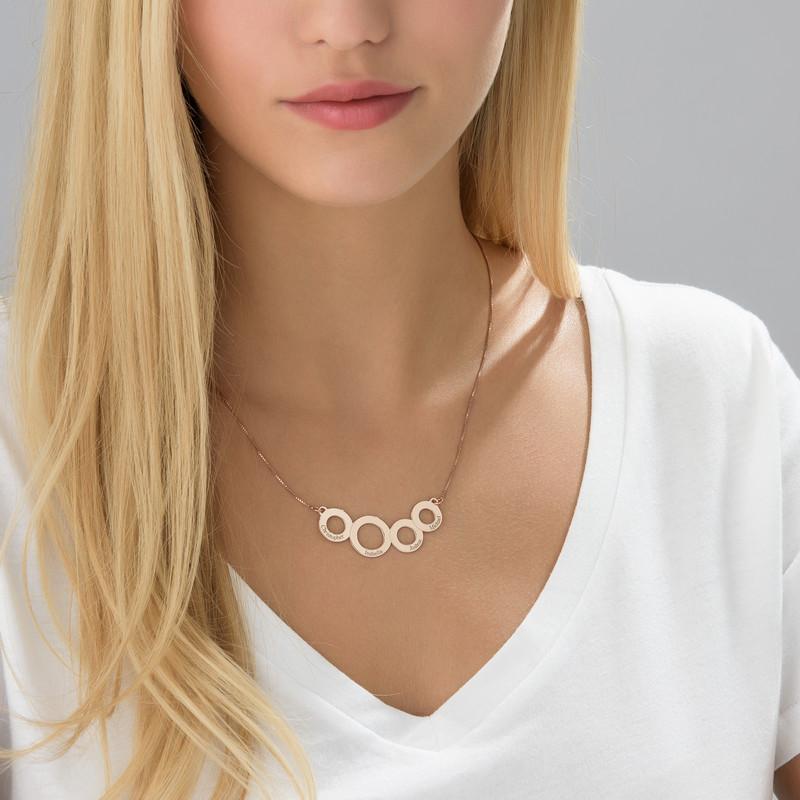 Collar Círculos Grabados Chapado en Oro Rosa - 2