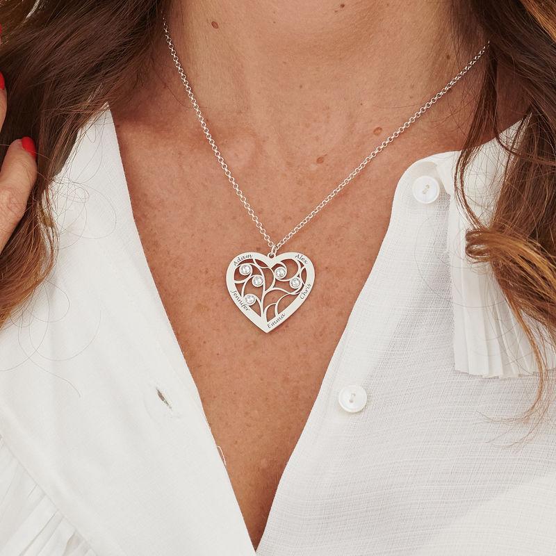 Collar Árbol de la Vida en forma de Corazón con Piedras de Nacimiento en Plata de Ley - 5