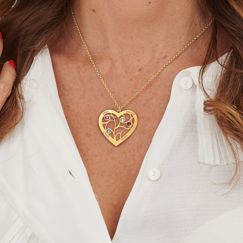 Collar Árbol de la Vida en forma de Corazón con Piedras de Nacimiento Chapado en Oro - 5