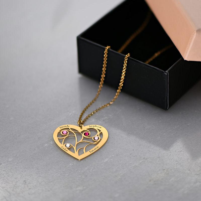 Collar Árbol de la Vida en forma de Corazón con Piedras de Nacimiento Chapado en Oro - 6