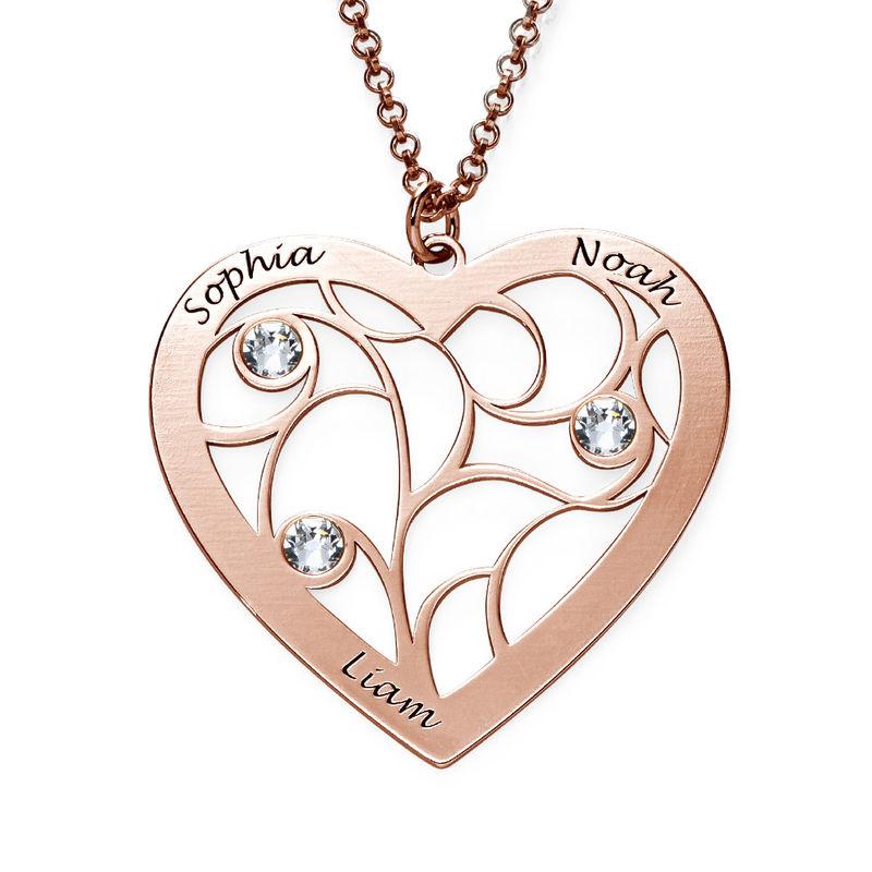 Collar Árbol de la Vida en forma de Corazón con Piedras de Nacimiento Chapado en Oro Rosa - 1