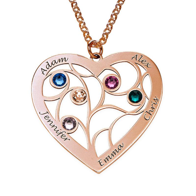 Collar Árbol de la Vida en forma de Corazón con Piedras de Nacimiento Chapado en Oro Rosa - 2
