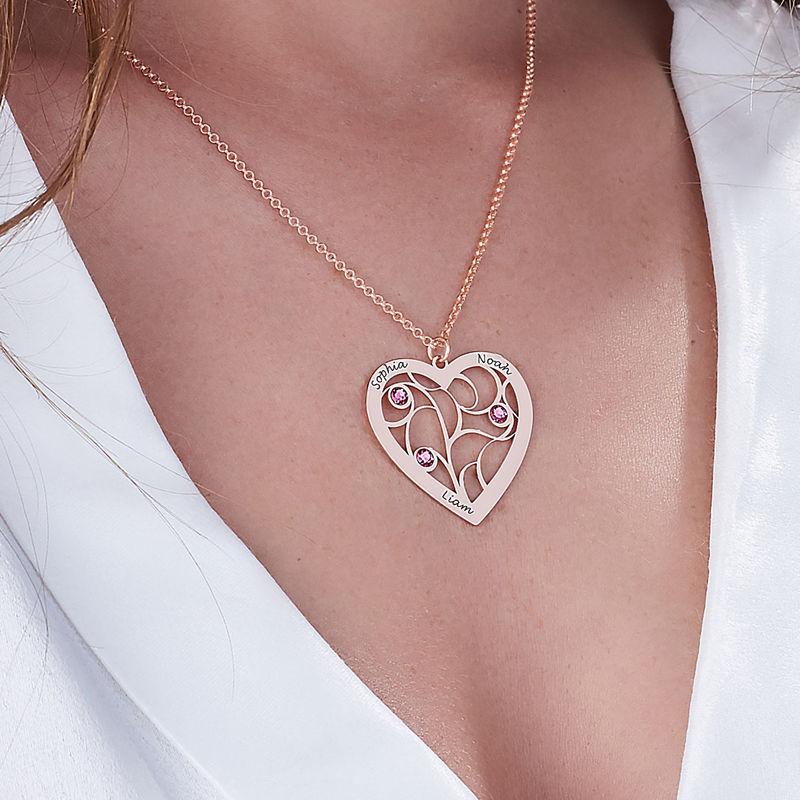 Collar Árbol de la Vida en forma de Corazón con Piedras de Nacimiento Chapado en Oro Rosa - 5