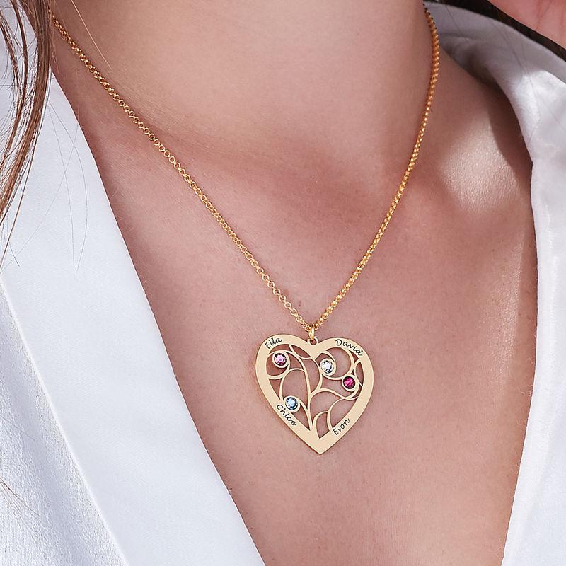 Collar Árbol de la familia con piedras de nacimiento en oro Vermeil - 5