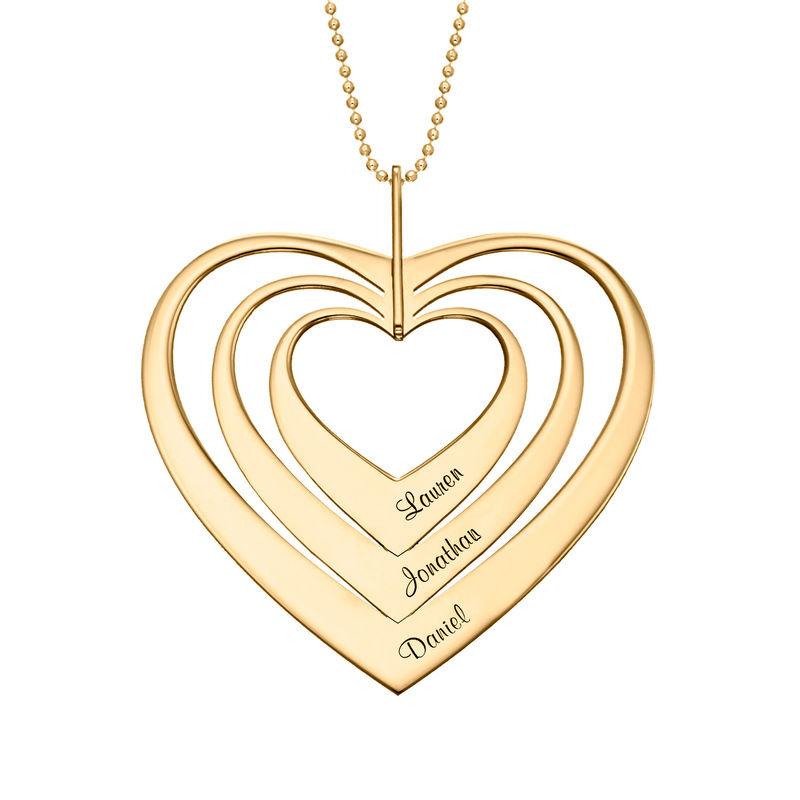 Collar de corazón familiar en oro de 10K