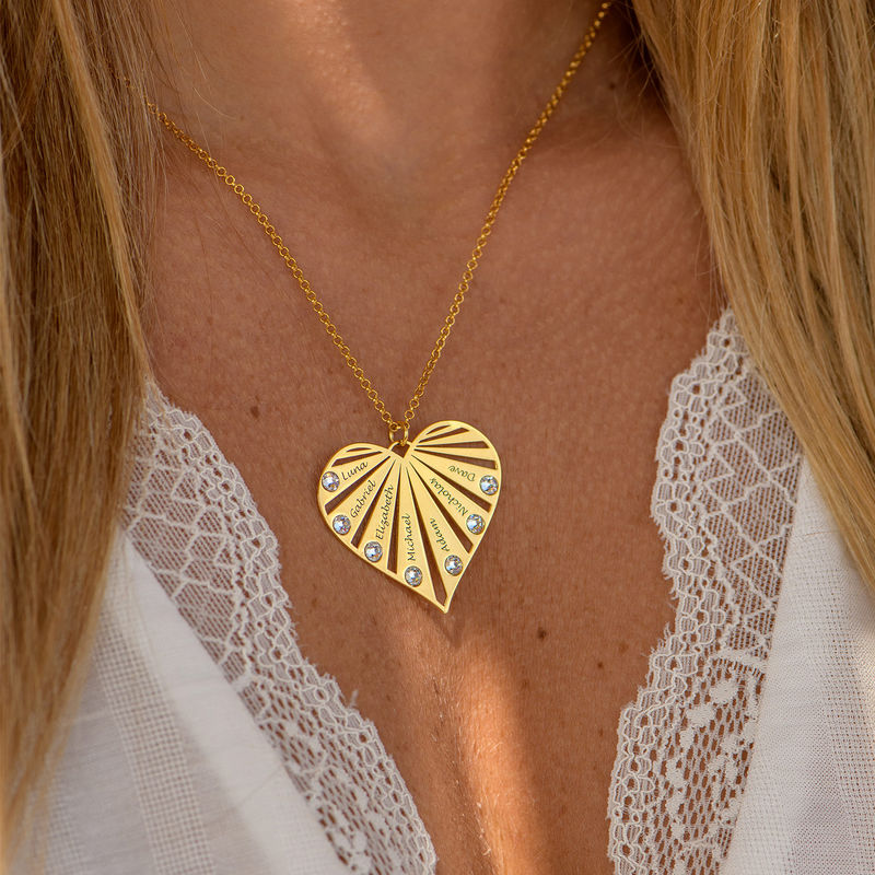 Collar de la Familia con Piedras de Nacimiento chapado en oro 18k - 6