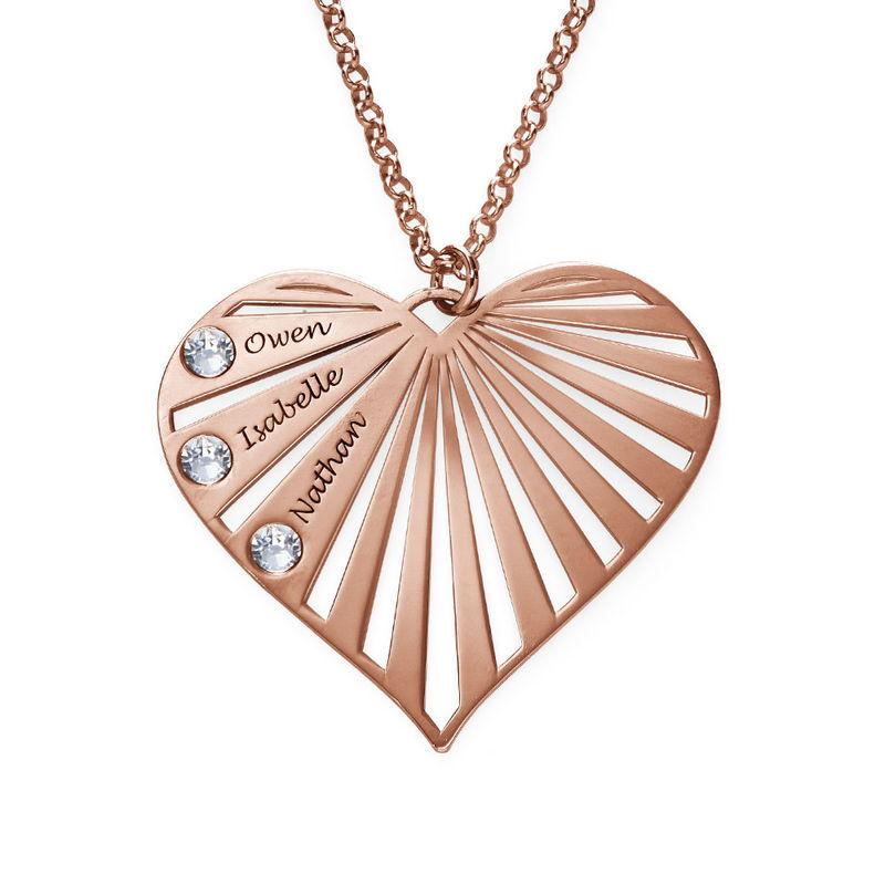 Collar de la Familia con Piedras de Nacimiento chapado en oro rosa - 1