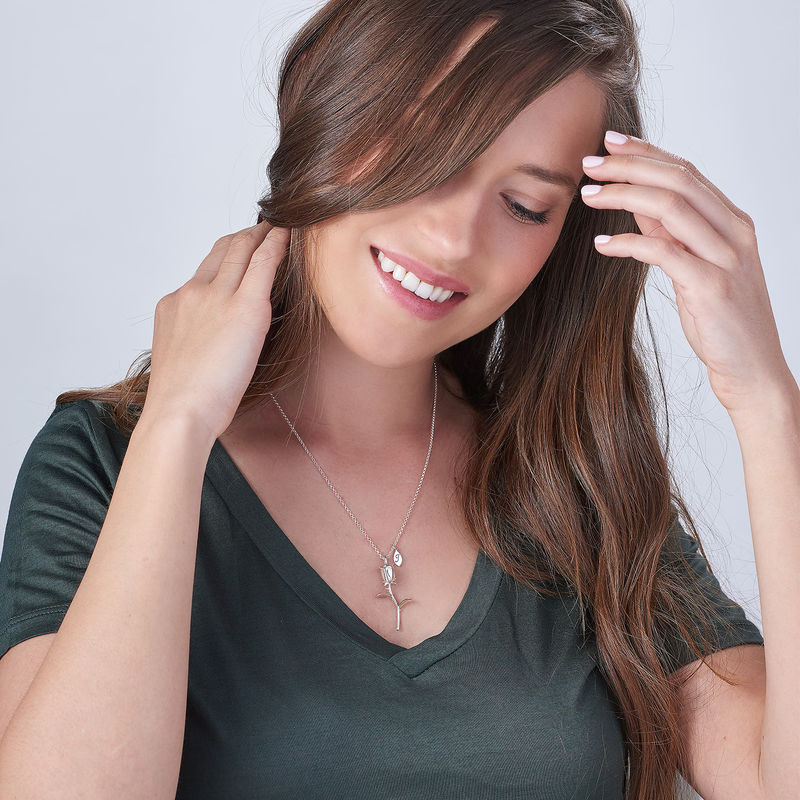 Collar de Rosa Flor con colgantes de inicial en plata de ley - 1
